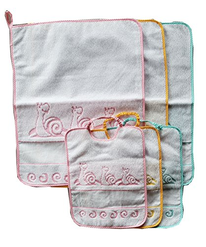 Set 3 bavaglie E 3 salviette disegno chiocciola cotone per asilo e scuola materna bambina