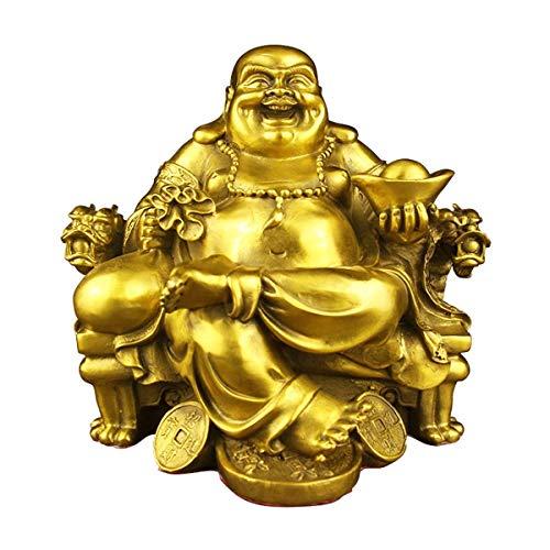 FTFTO Lebendige Ausrüstung Glückliche Buddha-Statue für glückliches Glück Gott des Reichtums Statue Messing Maitreya sitzt auf der Stuhlskulptur des Kaisers