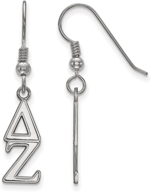Beautiful Sterling silver 925 sterling Sterling Silver Rhplated LogoArt Delta Zeta Dangle Small Earrings