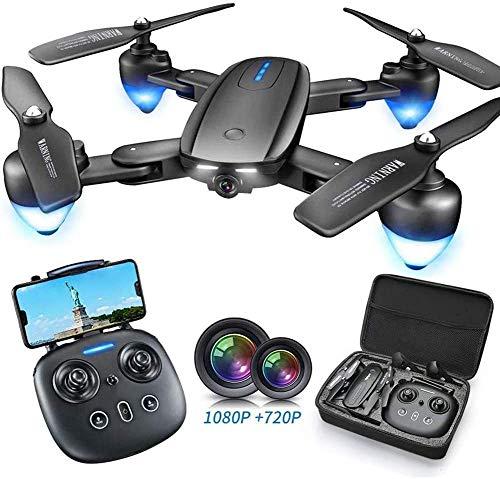 HGYYIO Drone GPS con 120 ° Grandangolo Doppia Fotocamera 1080P + 720P,con Telecomando modalità Volo Senza Testa Pieghevole Portatile, per Persone età Superiore 15 Ann