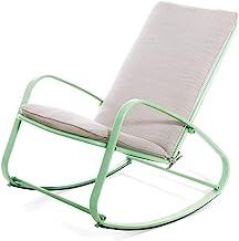 Lazy Getaway Rocking Chair Rocking Chair - Outdoor Patio Rocking Chair Padded Steel Rocker Chair, 63x94x84cm (Color : Green)