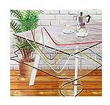 Mantel Transparente Hule PVC - Impermeable - Uso Interior y Exterior - Original 100% - Antideslizante - Borde Ribeteado en Colores Aleatorios: Blanco, Verde, Azul, etc (Cuadrado 140x140cm)