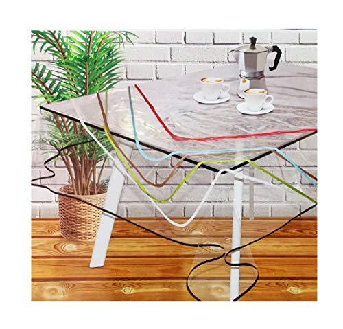 Mantel Transparente Hule PVC - Impermeable - Uso Interior y Exterior - Original 100% - Antideslizante - Borde Ribeteado en Colores Aleatorios: Rojo, Negro, Blanco, etc (Cuadrado 120x120cm)