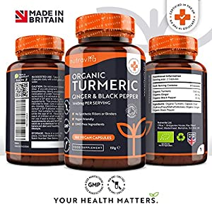 Organic Turmeric Curcumin 1440mg with Black Pepper & Ginger - 180 Vegan Turmeric Capsules High Strength (3 Month Supply) - Certified Organic by Soil Association - Made in The UK by Nutravita