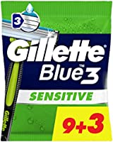 Gillette Blue3 Sensitive Jednorazowa maszynka do golenia dla mężczyzn, 12 sztuk, nawet do 10 delikatnych goleń jedną...