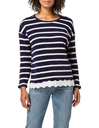 Springfield Camiseta Chenilla Bajo Puntilla, Azul Medio, M para Mujer