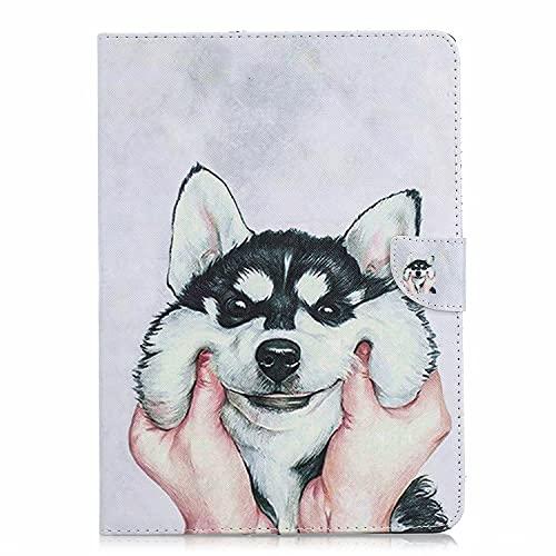 TTNAO Custodia per iPad 2 3 4 (Old Model) Premium Cover Auto Wake Sleep Cover Pelle PU Protettiva Caso Slot Carte Stand Supporto Case,Mano che tiene la testa di cane carino