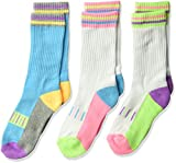 Jefferies Socks Girls' Little Fun Sporty Crew Half Cushion Socks 3 Pair Pack, pastel neon, X-Small