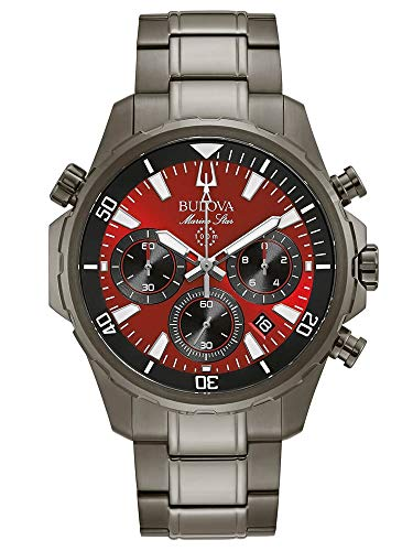 Bulova 98B350 Men's Marine Star Red Dial Grey Bracelet Watch