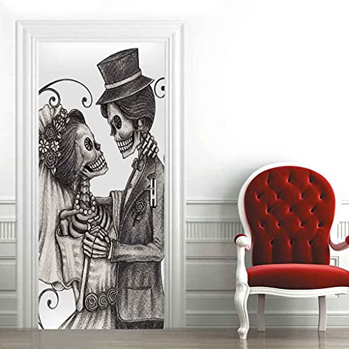 CUUDBP 3D Etiqueta De La Puerta Mural Puerta Fondo Novio De Novia Esqueleto Pvc Poster Art Moderno Hogar Decoración Autoadhesivo Impermeable Puerta Pegatina Para Dormitorio Sala De Baño 95X215Cm