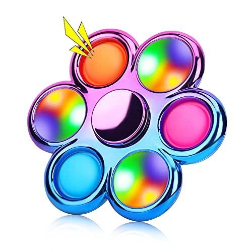 Jawhock Pop Fidget Spinner, Led Light Up Finger Spinner, Push Pop Bubble Fidget Spinner, Simple Fidget Popper Spinners, Hand Spinner for Stress Relief, Bulk Sensory Toy Party Favor for Kids