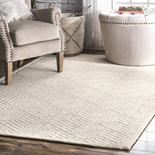 nuLOOM Suzanne Natural Textured Wool Rug, 5' x 8', Cream