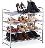 Bextsware Stackable Metal Mesh Utility Shoe Rack Organizer, Expandable Shoe Shelf Storage for...
