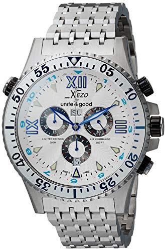 Xezo Men's Air Commando Swiss-Quartz Luxury Sport Chronograph Wrist Watches, 2nd Time Zone. Day, Date. Waterproof 20 Bars