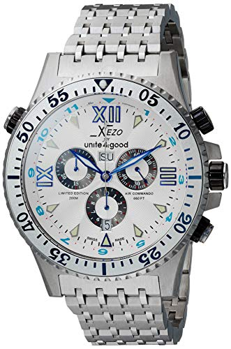 Xezo Air Commando D45 S - Reloj, Correa de Acero Inoxidable Color Plateado