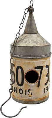 Wowser Rustic Tin Funnel Top Vintage Syle License Plate Birdhouse, 12 Inch