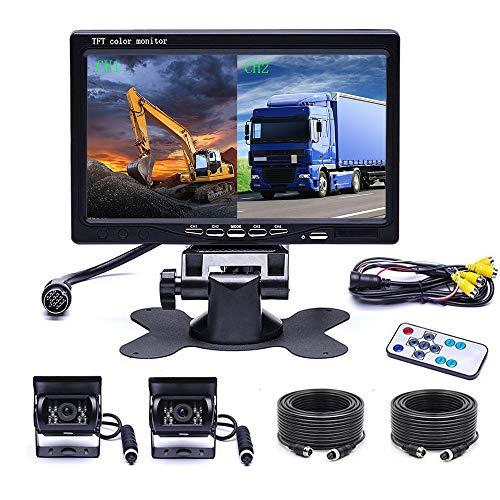 OiLiehu 7 Zoll Auto Dual RüCkfahrkamera Set mit 4 Geteilten Monitor Vorderansicht View, 2 X Kabelge Auto Kamera 18 IR-Nachtsicht, Mit 2 X 10m Kabeln FüR Wohnmobil, Anhänger, LKW, Abholung, Bus