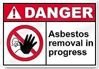 警告金属ノベルティサインアルミニウム、進行中のアスベスト除去危険サイン、壁サイン金属プラーク鉄絵画警告サインバーホテルオフィスカフェテリアのアート装飾