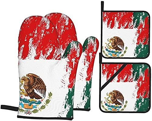 MODORSAN Juego de 4 Guantes y Soportes para ollas Eagle en Bandera Mexicana, Almohadillas Calientes Resistentes con Guantes de poliéster Antideslizantes para Barbacoa para Cocina, cocinar,