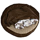 Furhaven Pet Dog Bed - Cooling Gel Memory Foam Orthopedic Round Cuddle Nest Micro Velvet Snuggery Blanket Pet Bed with Removable Cover for Dogs and Cats, Espresso, 35-Inch