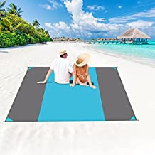 Beach Blanket Waterproof Sandproof Oversized 118''×110'' Sand Free Beach Mat Lightweight Portable Large Outdoor Picnic Blankets with 6 Stakes for Travel, Camping, Hiking