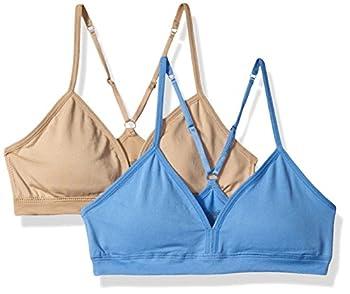 Hanes Girls  Big Comfort Flex Fit Seamless On The Go Racerback Bra 2-Pack Blue Star/Nude Large