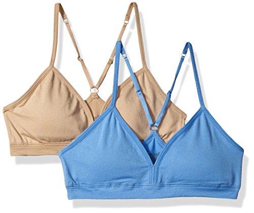 Hanes Big Girl's Comfort Flex Fit Seamless On The Go Racerback Bra 2-Pack Bra, Blue Star/Nude, Large