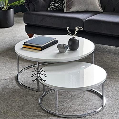 Set di 2 tavolini rotondi impilabili, piano in MDF bianco lucido e gambe metalliche argentate, 80 x 80 x 45 cm/60 x 60 x 40 cm
