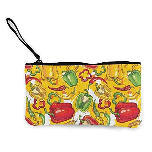 Yuanmeiju Unisex myntväska färg peppar kanvas myntväska mobiltelefon kortväska med handtag och dragkedja