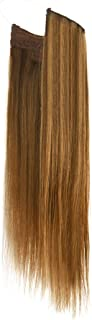 Vanalia Premium Remy Human Hair Halo Hair Extensions, Chestnut Brown with Dirty Blonde Highlights, 16 Inch. 100 Gram