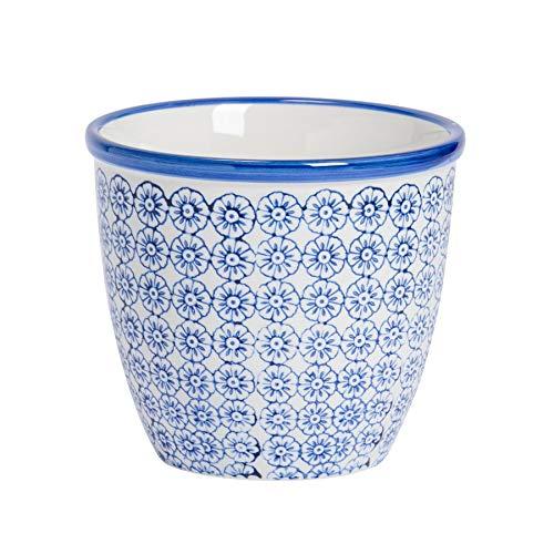 Nicola Spring Macetero de Porcelana - para Exteriores e Interiores - Estampado Floral Azul