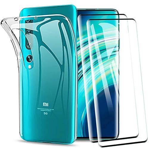 KEEPXYZ Funda para Xiaomi Mi 10 / Mi 10 Pro + 2 Pcs Protector de Pantalla para Cristal Templado, Flexible Silicona Transparente TPU Antigolpes Carcasa + Vidrio Templado para Xiaomi Mi 10 / Mi 10 Pro