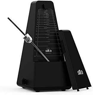 Mechanical Metronome, MIMIDI Universal Metronome High Accuracy/Battery-Free/Loud Sound Tempo Range 40~208bpm with Bell for Piano Guitar Violin Drum Bass and Other Musical Instruments(BLACK)