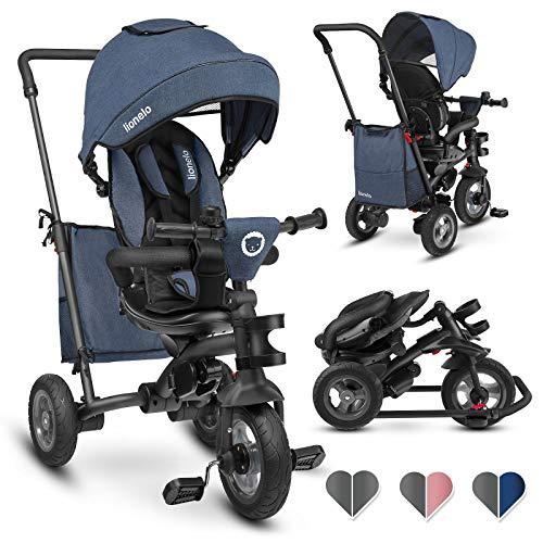 Lionelo Lo TRIS JEANS Tris driewieler loopfiets vanaf 1 jaar kinderdriewieler stuurstang baby kinderwagen, blauw, 11 kg