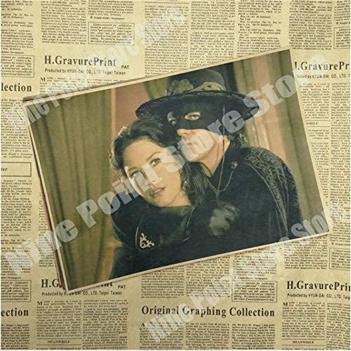 wqmdeshop Cartel Vintage La Leyenda del Zorro Antonio Banderas Catherine Zeta Jones Legend Movie Poster Póster Retro Decoración del Hogar 50X70Cm (N: 3610)