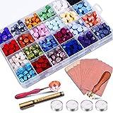 Sello Lacre Kit, STARTGOO 600pcs Cera Lacre Cuentas de Cera de Sellado 24 colores con Caja de almacenamiento LW29