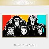 AFASSW Von Hand Bemalte Hochwertige Moderne Kunst Tier AFFE Ölmalerei Auf Leinwand Pop Art Gorilla Öl Malerei Für Wohnzimmer Poster Wall Kunstdrucke Home Decoration-80×160Cm(32×64 Inch)