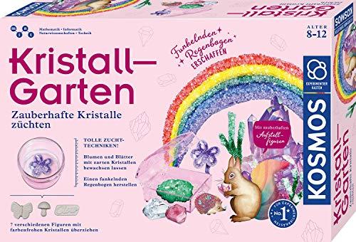 Kosmos 643645 Kristall-Garten, Bunte Kristalle züchten, Regenbogen, Blumen, Blätter und Gips-Figuren mit Kristallen überziehen, Experimentierkasten für Kinder ab 8 Jahre, Kinderzimmer-Deko
