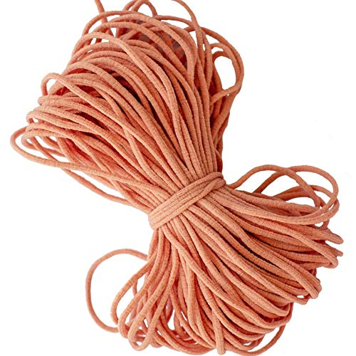 SandyBrown Round Elastic String Cord Earloop Bands for Face Masks Making Supplies Sewing Craft Project Bracelet String Trim for Crafting Thin Soft & Stretchy 20YARD