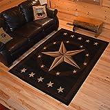 Rustic Lodge, Texas Star Area Rug, 5'3' W x 7'3' L, Black 3683