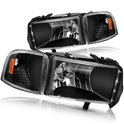 DWVO Compatible with 94-01 Dodge Ram 1500/94-02 Dodge Ram 2500 3500 Headlight Assembly Black Housing + Corner Lights