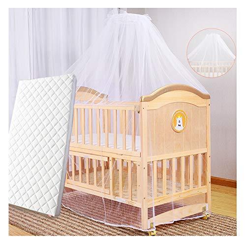 HBIAO Lit bébé en Bois Massif, White Wooden Baby Cot Foam Mattress Safety Wooden Barrier Teething Rails