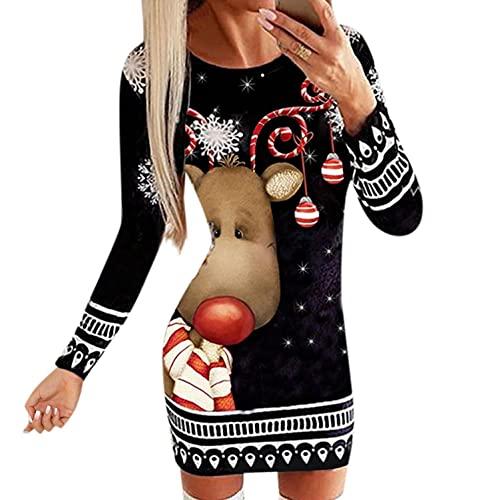 BIBOKAOKE Pulloverkleid Damen Sexy Weihnachtskleid Rundhals Langarm Schneeflocke Muster Party Slim Fit Minikleid Bodycom Kleid für Weihnachten...