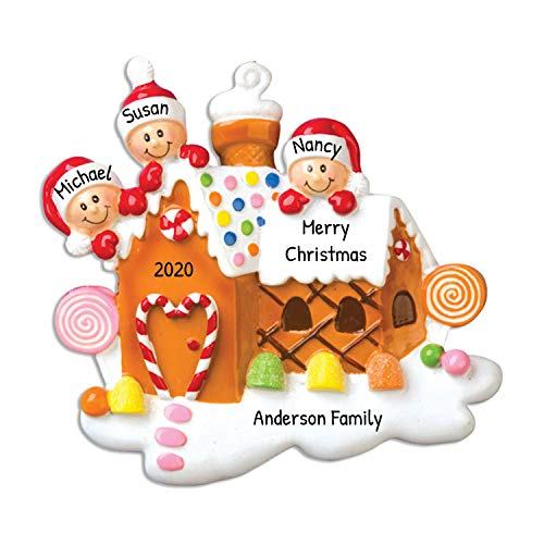 Ornaments by Elves Personalized Gingerbread House Family of 3 Christmas Ornament for Tree 2018 - Our Sweet Home New Candy-cane Door - Children Parents Friends 1st First - Personalized by (Three)