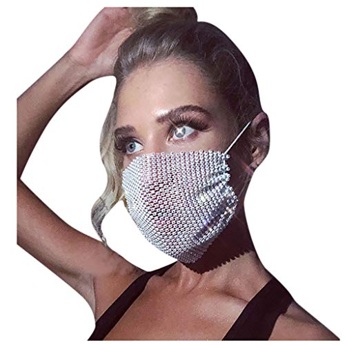 Supertong Unisex Einstellbar Mundschutz Mode Strass Mundbedeckung Waschbar Wiederverwendbar Gesichtsschutz Outdoor Staubdicht Winddicht Radfahren Motorrad Face Shield (#Weiß)