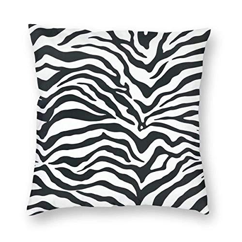Lsjuee Black and White Zebra Print Stripes Animal Print Home Decor Throw Pillow Cover, Lightweight Soft Plush Square Decorative Pillow Case 18x18 Inch Cushion Cover, Sham Stuffer, Machine Washable