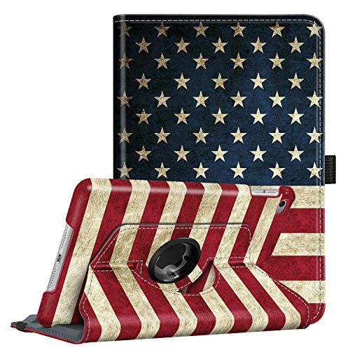 Fintie Rotating Case for iPad Mini 4-360 Degree Rotating Stand Case with Smart Cover Auto Sleep/Wake Feature for iPad Mini 4 (2015 Release), US Flag