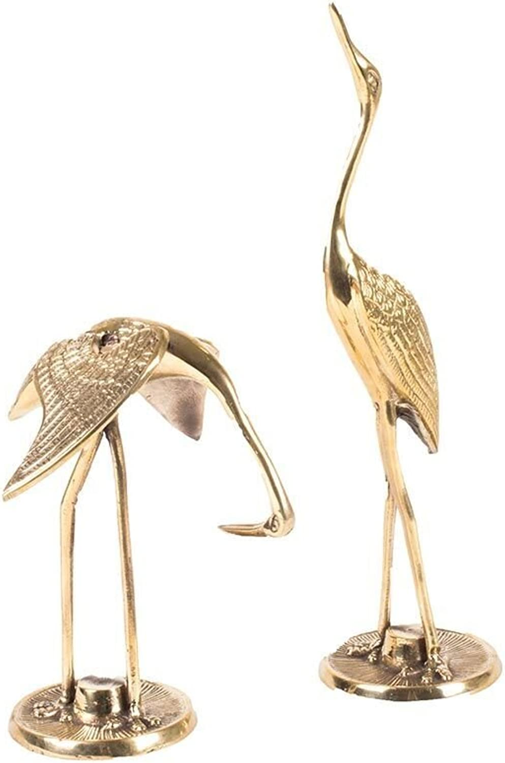 8 Oak Lane EN047CRA Brass Statues-Crane Birds 12  X 7  Each, gold