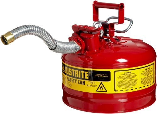 Justrite 7225130 AccuFlow 2.5 Gallon, 11.75' OD x 12' H Galvanized Steel Type II Red Safety Can With 1' Flexible Spout
