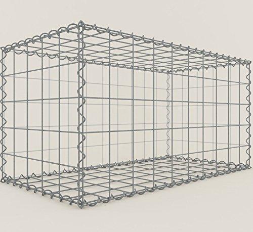 GABIONA Steinkorb-Gabione eckig, Maschenweite 10 x 10 cm, Tiefe 50 cm, Spiralverschluss, galvanisch verzinkt (100 x 50 x 50 cm)